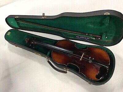 Antique / Vintage W & S Leipzig German Violin Nicolaus Amati Copy Case & Bow