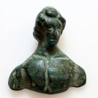 Museum Quality Roman Bronze Male Bust Ornament Ca 100-300 Ad