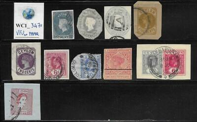 WC1_3470 BRITISH COLONIES. CEYLON. Lot of early stamps on paper. Used