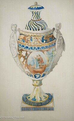 Antique Watercolor of Porcelain Lidded Urn, Hand Painted w/ Angel Handles Sevres