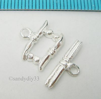 1x STERLING SILVER BRIGHT RIBBON TOGGLE CLASP 13mm (#427)