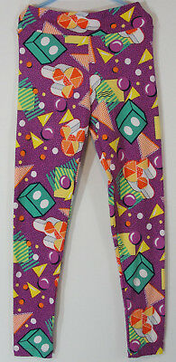 LuLaRoe Tween Leggings Girl 80s Graphic Purple Teal Yellow Orange Geometric Punk