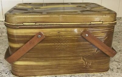 Vintage Antique Brown Yellow Metal Tin Lunch Picnic Bread Box Wood Handles Retro