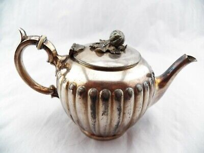 Vintage Sheffield Silver Plate Teapot James Dixon & Sons Fluted Ribbed Design
