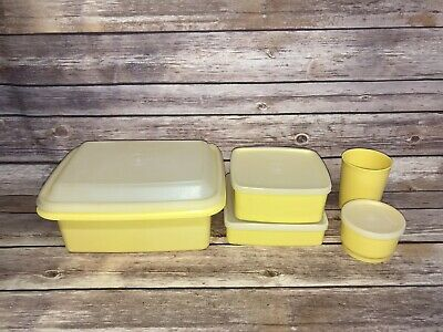 Vintage Tupperware Yellow Pak N Carry Lunchbox 9 Piece Set with Containers Lids