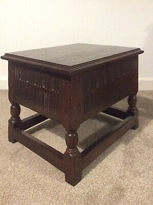 Carved Oak Joint Stool Coffee Chest Table Bible Sewing Lamp Table With Storage