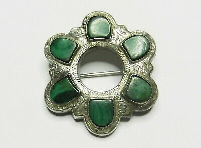 Antique Victorian Sterling Silver and Malachite Brooch
