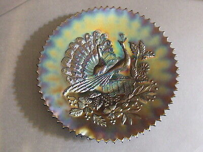 """Antique Northwood Peacocks On Fence Amethyst Carnival Glass Plate 9"""""""