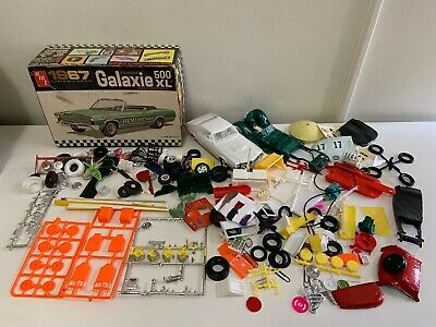 1960s 1970s Model Car Part Lot w/ AMT 1967 FORD GALAXIE CONVERTIBLE Box