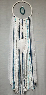 SALE...Large Dream Catcher, White & Blue, Dreamcatcher, Boho