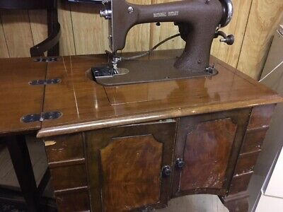 Antique 1937s Electric Rotary Sewing Machine in Cabinet with Certificate