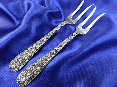 S. Kirk & Son Repousse Sterling Silver Lemon Fork 2-Tine Pair - Very Good Mt