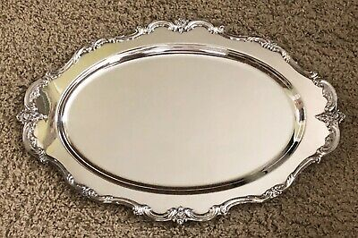 """WALLACE BAROQUE 2920 Silverplate Large Oval Serving Tray 21""""x13.5"""" Silver Plate"""