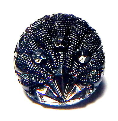 "WONDERFUL ANTIQUE 19th CENTURY VICTORIAN SILVER LUSTER JET GLASS ""SHELL"" BUTTON"