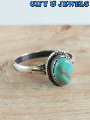 OLD PAWN NAVAJO STERLING SILVER RING SZ 5.5 TURQUOISE CENTER STONE 1.3 G #aw014