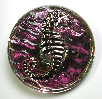 Pink Glass Button Seahorse Design w/ Silver Luster & Reflective Back 13/16""