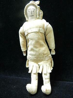 Vintage Antique  Eskimo Inuit Indian Alaska / Canada Doll Baby Hide Shell Hands