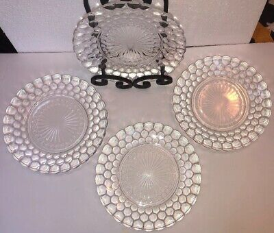 """4 Anchor Hocking clear-Bubble Dinner Plates Depression Glass 9 1/2""""(3sets avail)"""