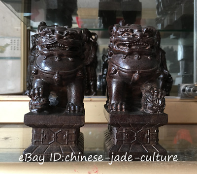 A Pair China Natural Rosewood Carved Evil Fengshui Foo Fu Dog Guardion Door Lion