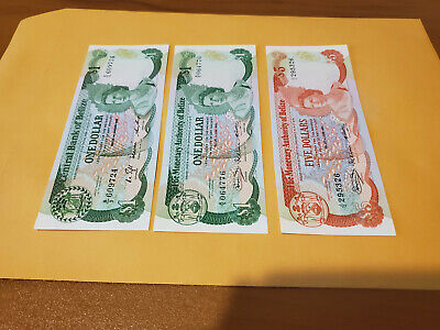 belize 1980 $5 and $1 gem UNC and 1986 $1 nice set