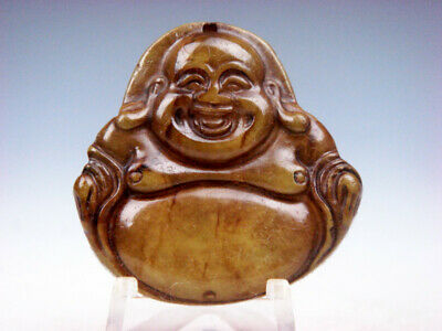 Old Nephrite Jade Hand Carved *Laughing Mi-Le Buddha* Pendant #08141905