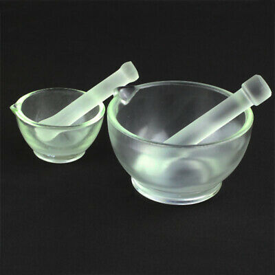 Lab Borosilicate Chemistry Mortar glassware Pestle 60mm-150mm