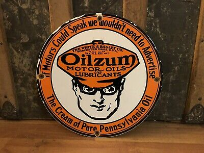 Vintage Oilzum Oil Man Porcelain Motor Oil Gas Station Lubester Plate Sign
