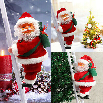 Electric Singing Santa Claus Climbing Ladder Doll Decoration Plush Toy Gift bzb