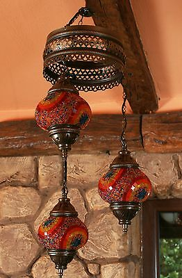 Antique Style Handmade Turkish Mosaic Hanging Three Lamps Vintage Stained Glass