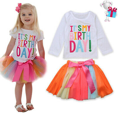 It's My Birthday Party Outfit Kids Girls Princess Unicorn Tutu Tulle Skirt Gifts