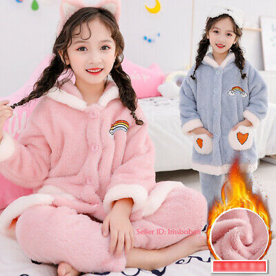 Kids Girl Warm Plush Pajamas Sets Fleece Sleepwear Nightwear Homewear Loungewear