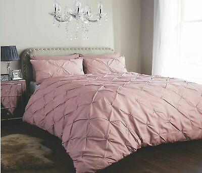 Dusty Pink Pleated Pintuck Duvet Cover  Pillowcase Double Super King Bedding Set