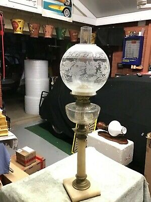 Antique oil lamp, Banquet alabaster, glass and brass