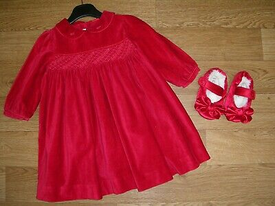 ABELLA Girls Red Smocked Dress Outfit with NEXT Shoes Age 18-24m