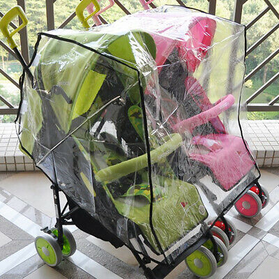 Universal Clear Stroller Rain Cover Double Pushchair Pram Baby Infant Twin Buggy