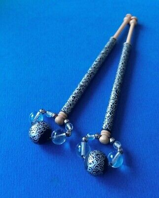Pair Wood Lace Bobbins. Painted Silver Design on Black. Spangles to match.