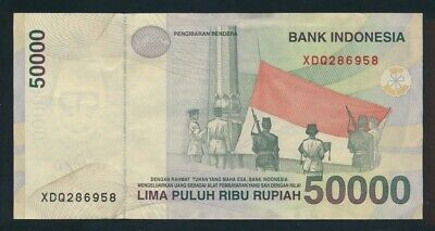 "Indonesia: 1999/2002 50,000 Rupiah SCARCE PREFIX ""X"" REPLACEMENT. Pick 139dr EF"