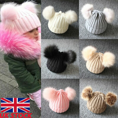 Kid Baby Girl Boy Knitted Bobble Double Pom Winter Warm Crochet Stretchy Hat UK