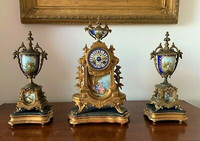 OUTSTANDING 19thc FRENCH PORCELAIN ORMOLU SEVRES GARNITURE MANTLE CLOCK SET