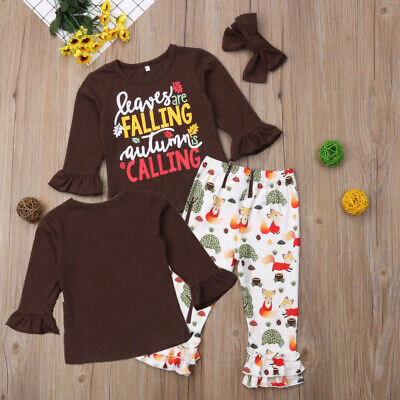 Baby Kid Girls Tops T-shirt Pants Leggings Autumn Outfit Set Tracksuit