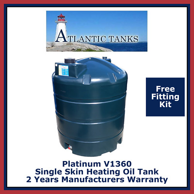1360ltrs Vertical Single Skin Platinum Domestic Heating Oil Storage Tank