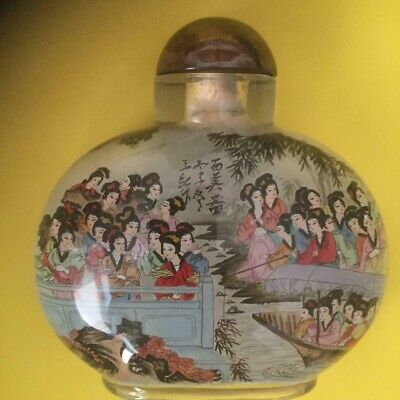 Vintage  Beautiful Large Reverse Painted Glass Snuff Bottle.