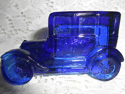 Blue Vaseline glass Taxi antique Car sedan uranium candy container ford / Chevy