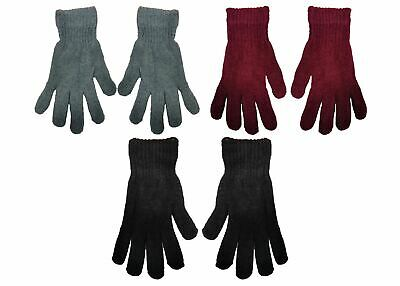 Ladies Undercover Chenille Knitted Thermal Gloves Black, Grey or Burgundy