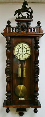 Sublime Antique A Willman & Co Twin Weight Mahogany Vienna Regulator Wall Clock
