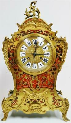 Rare Huge Antique French Red Shell & Brass Inlaid Boulle 1/4 Strike Mantle Clock