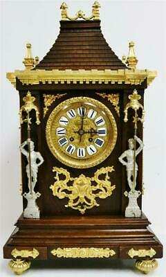 Sublime Antique French Mahogany & Bronze Ormolu Gothic Cathedral Mantel Clock