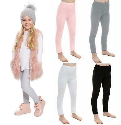 Children Kids Girls Plain Soft Full Length Leggings Jegging Pants Age 2-13 JS038