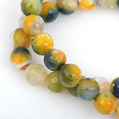 6mm Round Agate Gemstone Beads, CITRUS yellow, green, blue, faceted gag0202