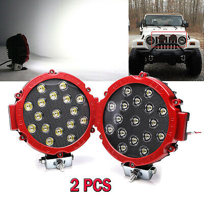 2x Red 7inch 51W Spot LED Work Light Boat 4X4 SUV Jeep Round Reverse Fog Offroad